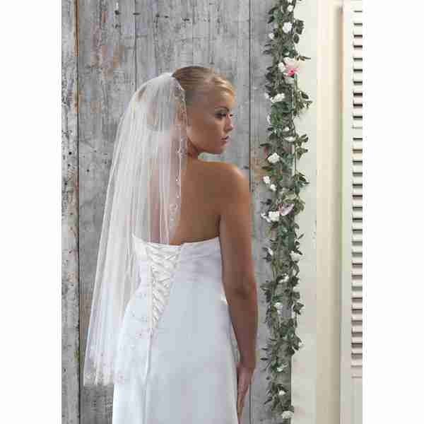 One Tier Pearl and Diamante Embroidered Trim Image