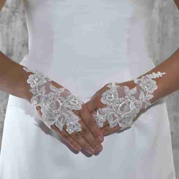 Beaded Lace Organza Ribbon Tie Up Fingerless Glove Image