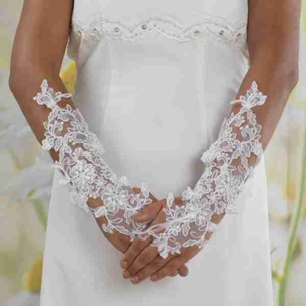 Long Lace Fingerless Gloves With Organza Ribbon Tie and Feather Detail Image